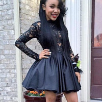 Homecoming Dress,Long Sleeves Backless Little Black Short Prom Dress