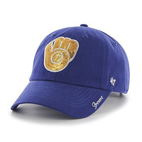 MLB Milwaukee Brewers Women's Sparkle Clean Up Adjustable Hat, Royal