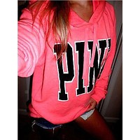Pink Victoria's Secret Print Pattern Long Sleeve Hoodie Sweatshirt