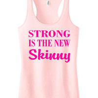 Strong is the new Skinny Racerback Fitness Tank Top Workout Shirt Motivational Tank Gym Clothing Workout Tank Top Light Pink IPW00036 NNP