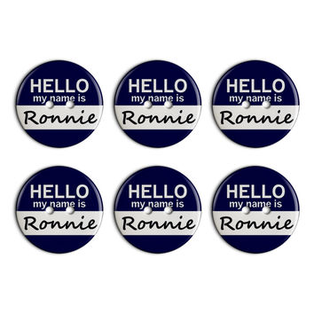Ronnie Hello My Name Is Plastic Resin Button Set of 6