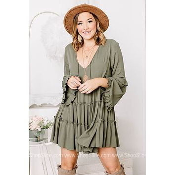 Rhiannon Sage Green Baby Doll Dress