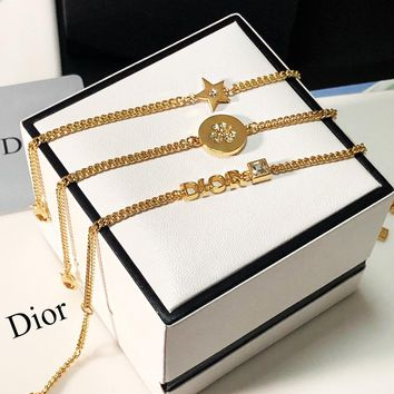 DIOR New Hot Sale Woman Chic Bracelet Hand Catenary Set Three Piece Accessories Jewelry