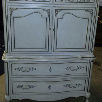 Vintage French Provincial Chest on Chest by Barker Brothers