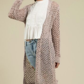 Open Weave Speckle Knit Sweater - Blush