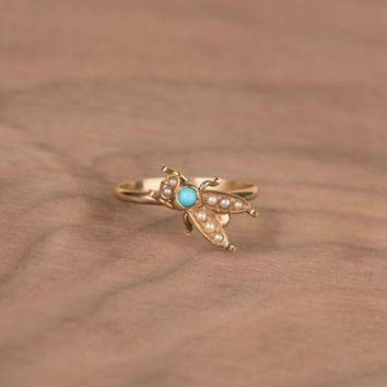 DCCKHD9 Victorian Turquoise and Seed Pearl Fly Bug 14k Yellow Gold Conversion Ring