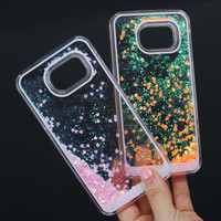 For Samsung S5 Case! Fashion Clear Sparkle Glitter Heart Dynamic Liquid Quicksand Phone Cases for Samsung Galaxy S5 I9600 cover