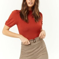 Belted Houndstooth Mini Skirt