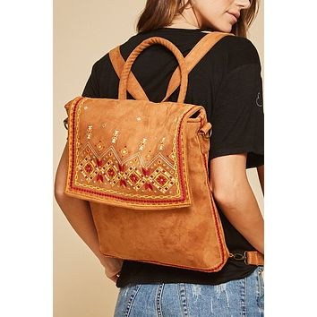 Charmed Floral Embroidery Backpack - Mocha