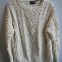 White Oversized Chunky Cable Knit Sweater