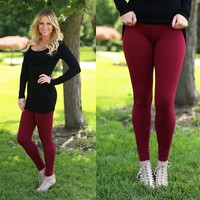 Soft to the Touch Leggings in Burgundy