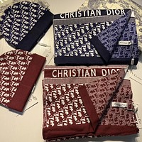 DIOR Warm cashmere double-sided hat scarf set