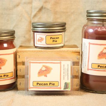 Pecan Pie Candles and Wax Melts, Highly Scented Bakery Candle and Wax Tarts, Homemade Dessert Fragrance, Pie Scented Candle