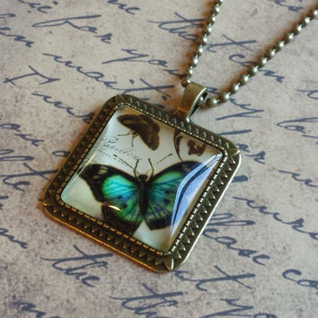 """Victorian Butterflies Steampunk Vintage Style Square Glass Cabochon Antiqued Brass Geometric Pendant Necklace 27"""" Ball Chain #BFL-23"""