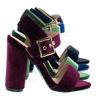 Cylinder13 Burgundy Velvet By Forever, Round Block High Heel w Thick Ankle Strap