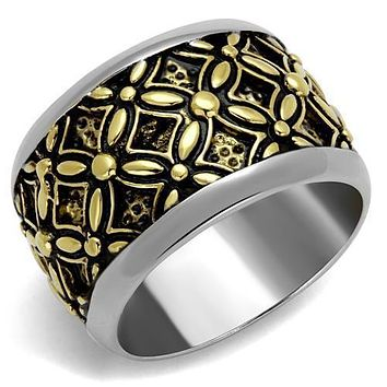 Two-Tone IP Gold (Ion Plating) Stainless Ring