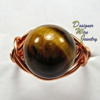 DWJ0221 Lovely Gold Tiger Eye Copper Wire Wrap Ring All Sizes