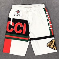GUCCI Summer New Fashion Letter Stripe Print Shorts White