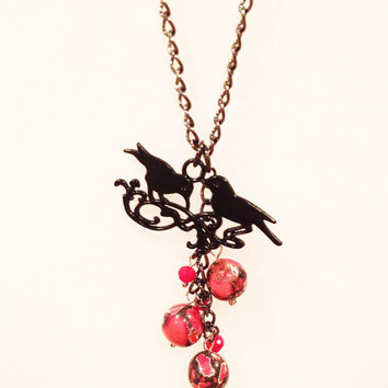 Black Bird and Red Beads Halloween Necklace