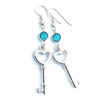 Skeleton Key Earrings, Romantic, Key Jewelry, Silver, Key To My Heart, Gift for Girlfriend, For Women, Dangle