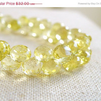 42% Off Outstanding Lemon Quartz Gemstone Briolette Yellow AAA Faceted Onion 7mm 27 beads 1/2 strand