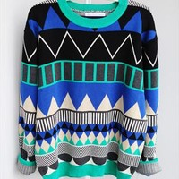 L 080204 Diamond geometric pattern loose pullover from cassie2013