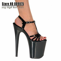 New 2015 Lady Gaga Like Fashion 8 Inch Platform Black Strappy High Shoe 20cm Sexy Clubbing High Heels Women's Closed Toe Sandals = 1945726532