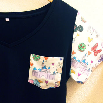 Disney Parks Print Pocket Sleeve Shirt | Disneyland Castle | Pocket Tee
