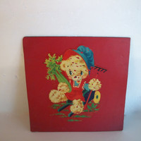 Vintage Painted Linoleum Square Teddy Bear In Garden 1950s Distressed And Has Some Wear 9 And 1/8 Inches Square Wall Decor