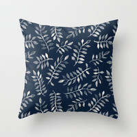 White Leaves on Navy - a hand painted pattern Throw Pillow by Micklyn