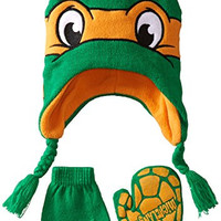 Teenage Mutant Ninja Turtle Little Boys' Michangelo Hat and Mitten Set, Orange, One Size