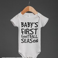 Baby's First Football Season-Unisex White Baby Onesuit