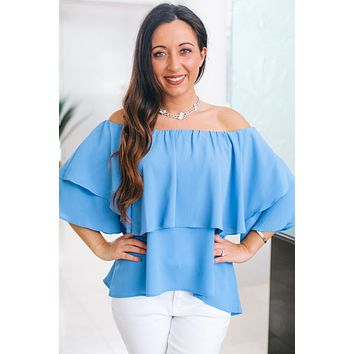 Off the Shoulder Double Ruffle Blouse