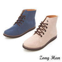 ❤Adorable❤ BN Comfy Lace Up Casual Flat Ankle Boots in Navy & Beige