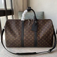 Louis Vuitton LV Classic Duffel Bag Handbag Shoulder Messenger Bag Letter Check Printed Fashion Travel Bag for Men and Women