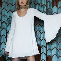 Something Magical White Long Sleeve Shift Dress