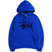 Stussy Letters hooded top couple casual basketball sweater Blue