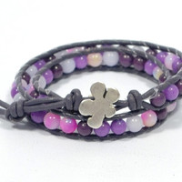 purple beaded bracelet * wrap beaded leather bracelet * women leather bracelet * flower hook bracelet * gifts for mom * beaded jewelry
