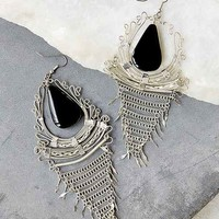 Large Statement Stone Drop Earring- Silver One