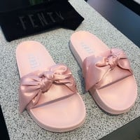 Tagre PUMA fenty rihanna silk Bow Slide Sandals Shoes sneakers spring (10-color) light pink