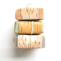 Pick Three Bars // Birch Blond Edition // Cold Process Soap // Local Maine Birch Bark// Mens Soap Gift Set
