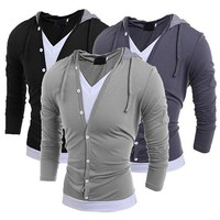 2016 New Fashion Men's V Neck Long Sleeve Hooded T-Shirt Buttons Casual Tops Tee Shirt