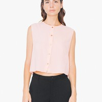 Gauze Voile Button-Up Crop Tank | American Apparel