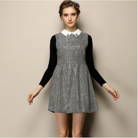 Block Long-Sleeve A-Line Collared Dress