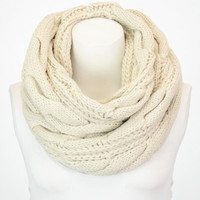New Ivory Classic Cable Knit Infinity Scarf, Knit Infinity Scarf, Knitted Scarf, Infinity Scarves, Infinity Scarf, Scarf, Hand Knitted Scarf