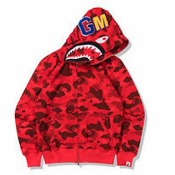 Bape Autumn new street fashion camouflage terry cloth cardigan zipper hooded sweater Camouflage red