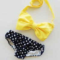 Sunshine Bow Bandeau Bikini Style Top Navy Blue and white polka dot panties panties.Vintage Inspired Bikini.Diva Halter neck top pin up
