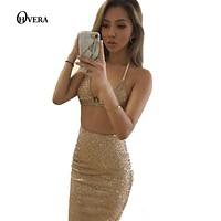 2017 newest women dresses two pieces ladies bodycon sexy summer dress strap elegant evening party bandage crop top and skirt set
