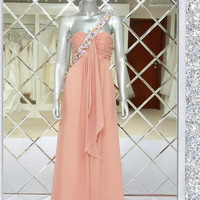 A-line One-shoulder Sleeveless Floor-length Chiffon Prom Dress With Rhinestone Free Shipping