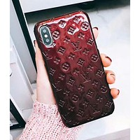 LV 2018 Hot ! Louis Vuitton Popular Pure Color iPhone 7 iPhone 7 plus - Stylish Cute On Sale Hot Deal Matte Couple Phone Case For iphone 6 6s 6plus 6s plus Burgundy I-OF-SJK